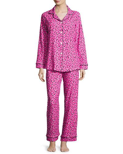 Demi-Ball Dotted Classic Pajama Set, Fuchsia/Black, Plus Size