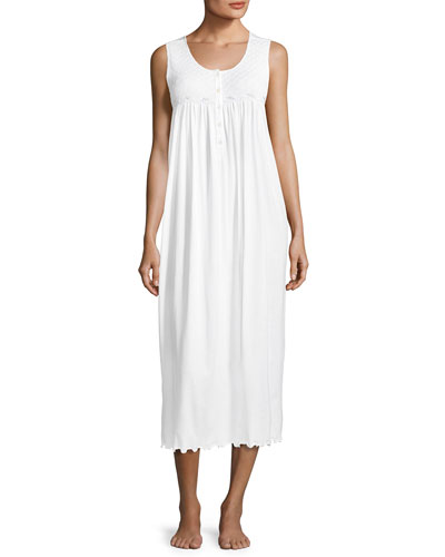 Betsy Sleeveless Long Nightgown, White/Blue