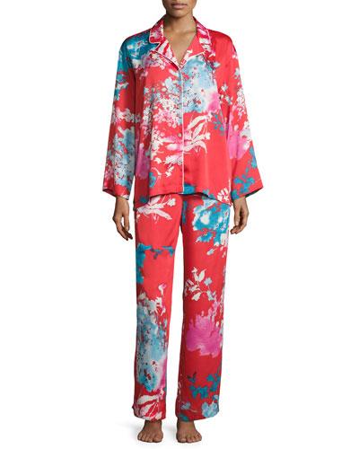 Chianti Satin Pajama Set, Multi Pattern