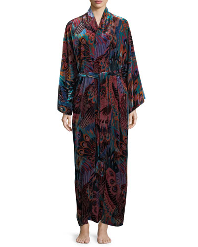 Gatsby Long Peacock-Print Velvet Robe