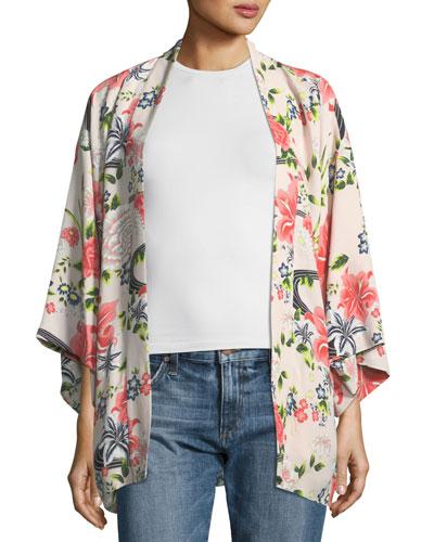 Drew Open-Front Floral-Print Silk Kimono