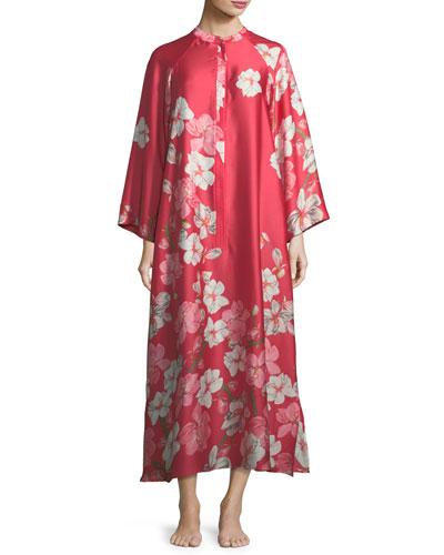 Magnolia Floral-Print Zip-Front Satin Caftan