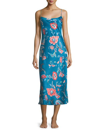 Xanado Floral-Print Satin Nightgown
