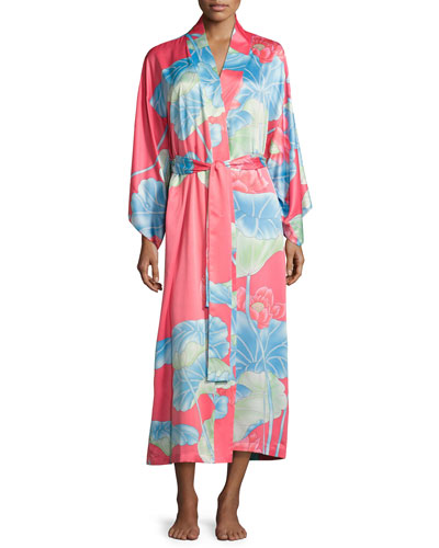Lian Floral-Print Long Robe