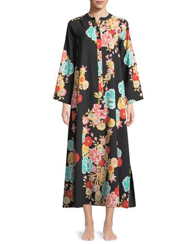Saipan Zip-Front Floral-Print Caftan