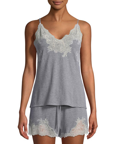 Shangri-La Two-Piece Lace-Trim Shortie Pajama Set