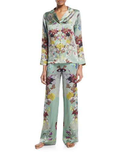 Floral-Print Silk Long Pajama Set