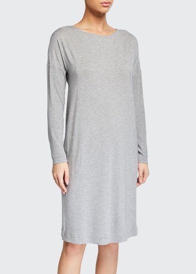 Natural Elegance Long-Sleeve Nightgown with Pockets