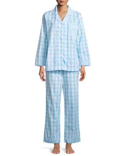 Gingham Long-Sleeve Classic Pajama Set