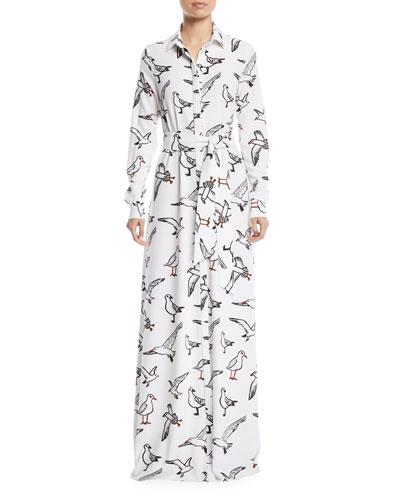 Seagull-Print Button-Down Long-Sleeve Tie-Waist Long Dress