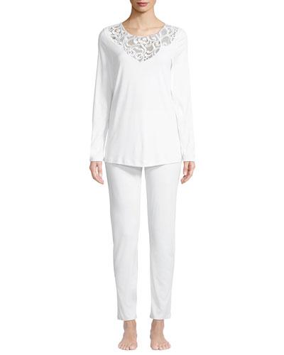 Ella Lace-Trim Long Pajama Set