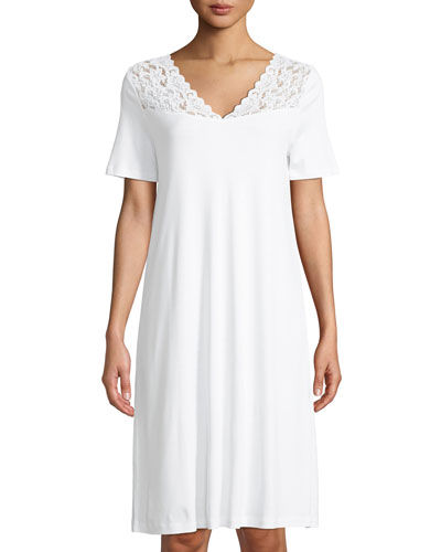 Short-Sleeve Lace-Trim Nightdress