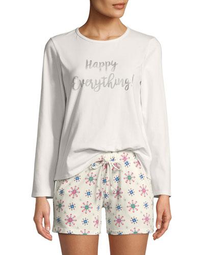 Happy Everything Long-Sleeve Short Holiday Pajama Set