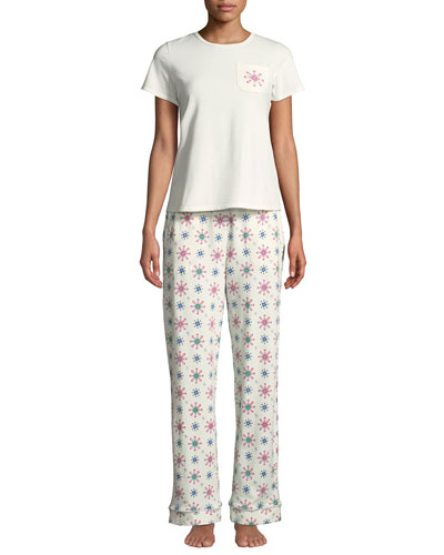 Holiday Snowflake Pocket Tee Pajama Set