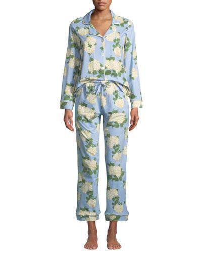 Hydrangea Classic Pajama Set, Plus Size