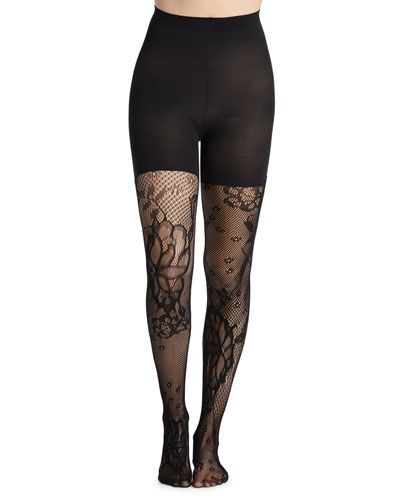 3f8bc9a72c9 Mid-Thigh Shaping Floral-Fishnet Tights