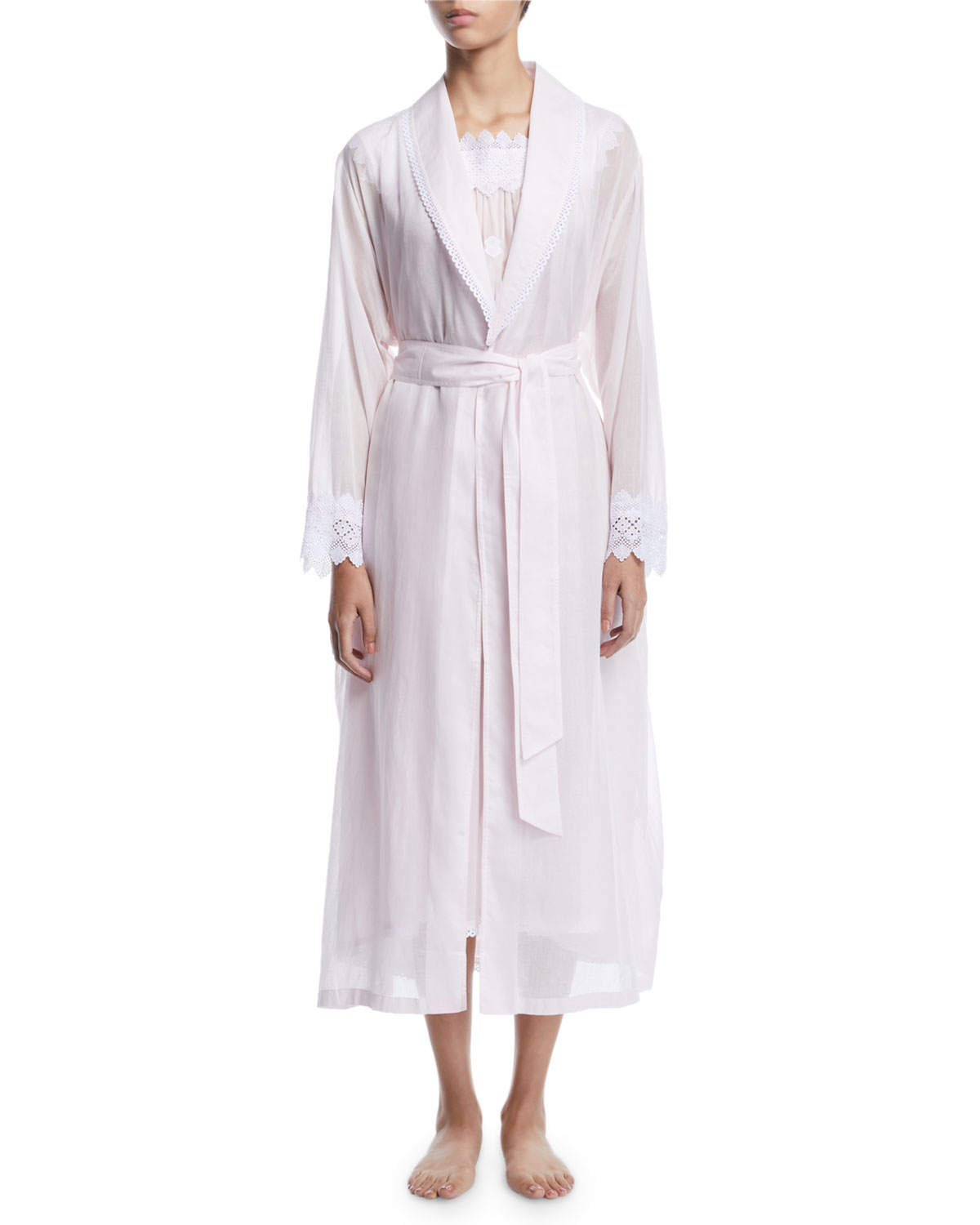 CELESTINE Ninifee Long Lace-Trim Robe in Pink