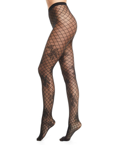 04ed5e0c7c2a Helena Net-Pattern Tights with Floral Motif
