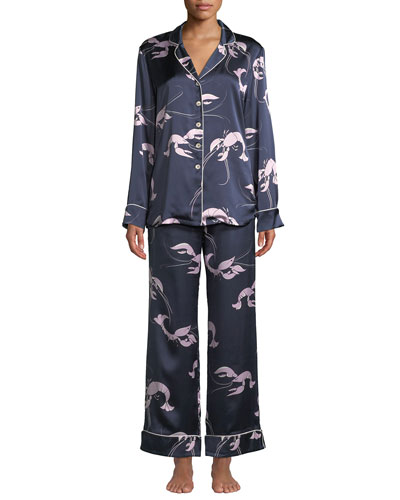 Lila Constance Lobster-Print Classic Silk Pajama Set