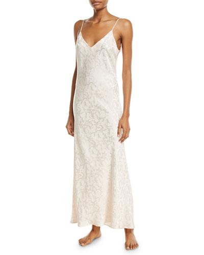 Floral Jacquard Long Silk Nightgown