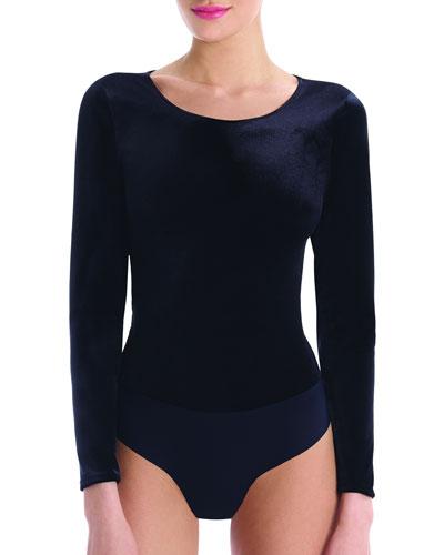 Velvet Round-Neck Long-Sleeve Cheeky Bodysuit