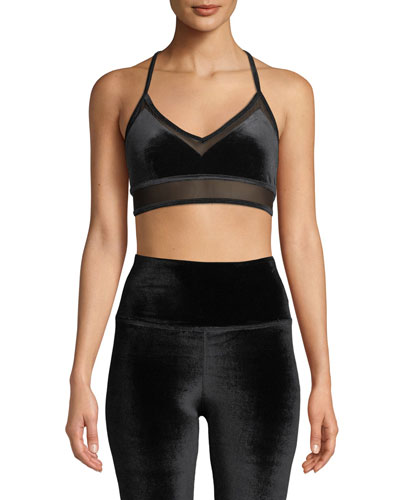 4afd1378e216b Luxe Velour Sports Bra with Mesh Panels