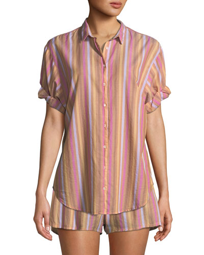 Channing Striped Short-Sleeve Lounge Shirt