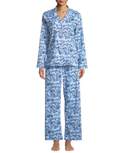 Ledbury Scenic-Print Cotton Pajama Set