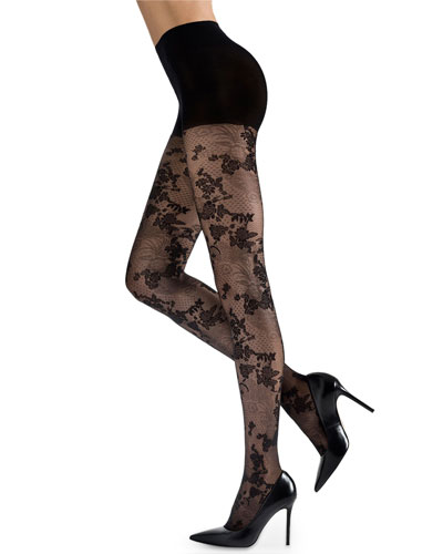 Scarlet Lace Sheer Floral-Pattern Control-Top Tights