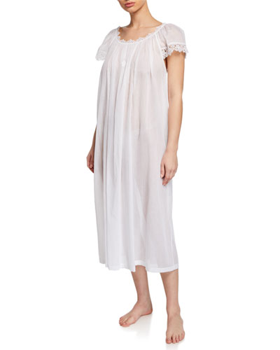 Miri Scoop-Neck Cap-Sleeve Nightgown with Lace Trim