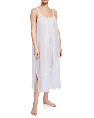 Saphira Sleeveless Scoop-Neck Long Cotton Nightgown
