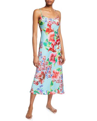 Star Blossom Satin Slip Nightgown