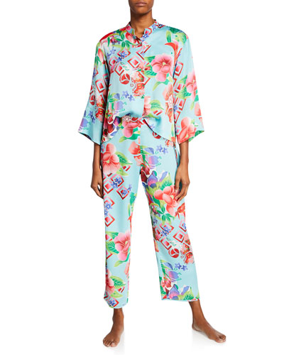Star Blossom Mandarin-Collar Pajama Set