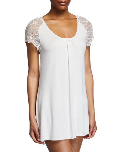 Lace Cap-Sleeve Short Nightgown