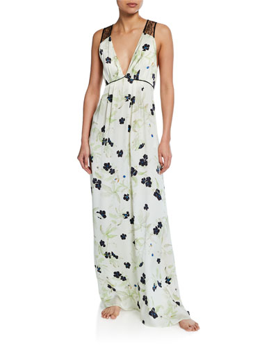 Floral-Print V-Neck Lace-Back Silk Satin Gown