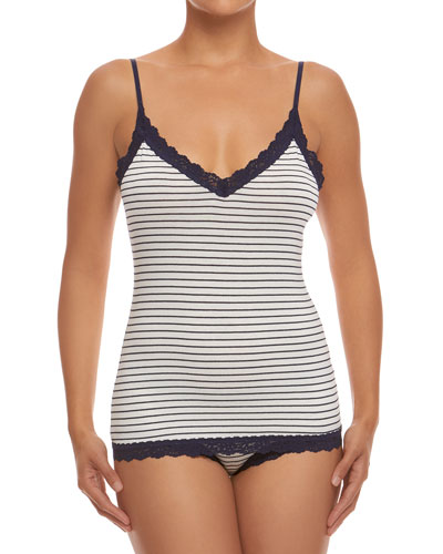 Lace-Trim Striped Jersey Camisole