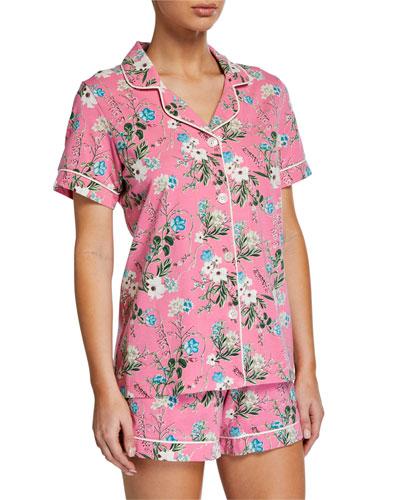 Plus Size Ladybug Floral Shorty Pajama Set
