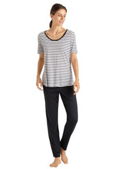 Laura Short-Sleeve Long Pajama Set