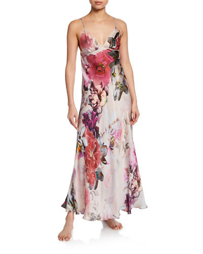 e417ceafb756 Camille Floral-Print Spaghetti-Strap Silk Gown