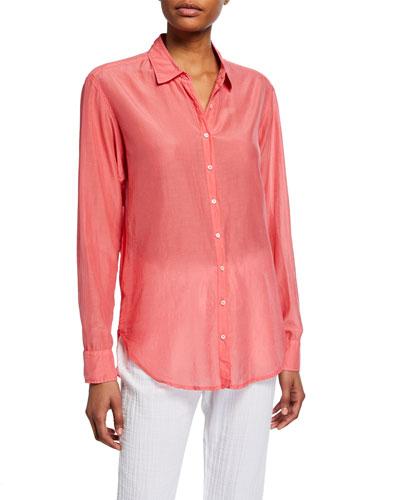 Beau Poplin Lounge Shirt, Coral