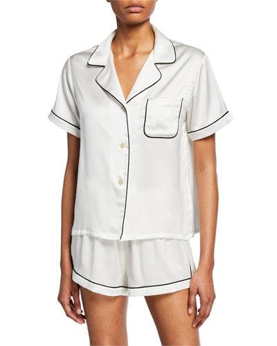 Katelyn Short-Sleeve Silk Lounge Top