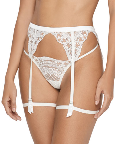 Bella Embroidered Tulle Garter Belt