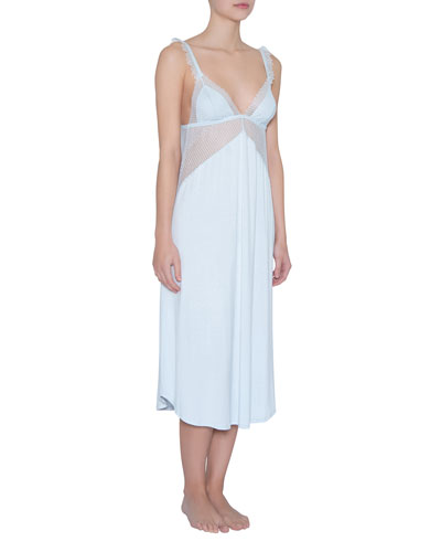 Phoebe Luxe Mesh-Inset Nightgown