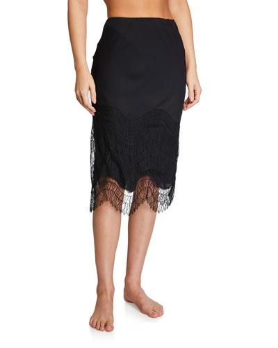 Lace-Hem Silk Slip Skirt