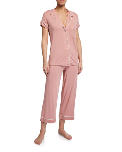 Gisele Cropped Two-Piece Jersey Pajama Set