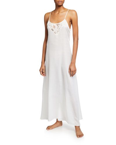 Misha Lace-Inset Long Nightgown