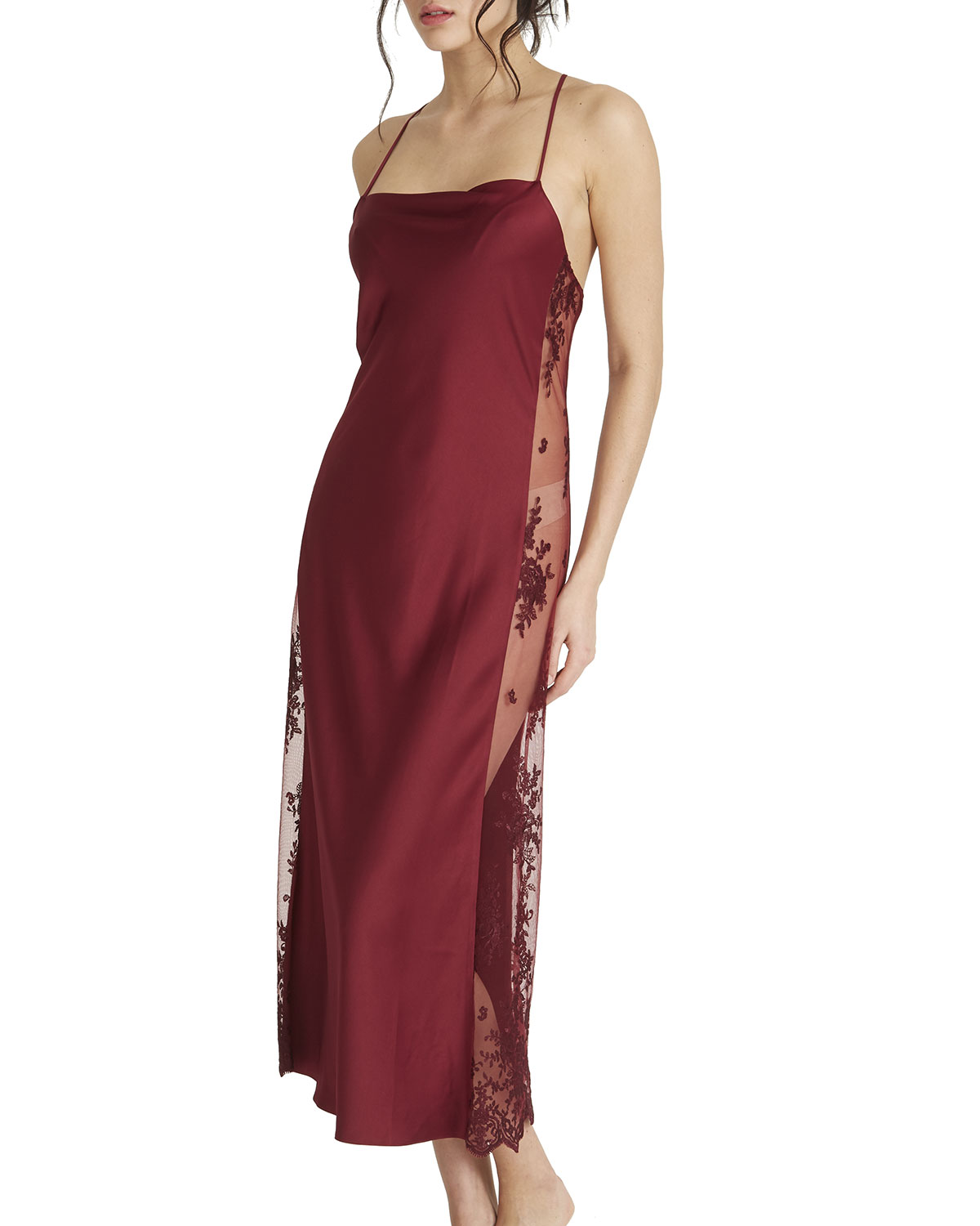Rya Collection DARLING LACE-INSET SATIN GOWN