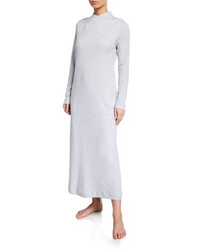 Luana High-Neck Long-Sleeve Long Nightgown