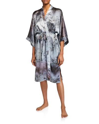 Floral-Print Classic Silk Kimono Robe