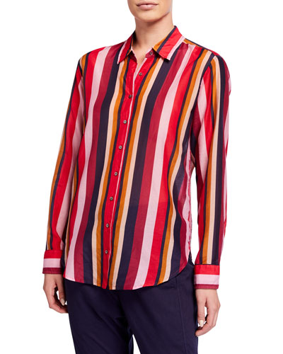 Beau Long-Sleeve Striped Lounge Shirt